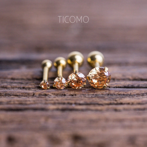 Triple Helix Earring Cartilage Earring 16g Cartilage Piercing Helix Piercing Tragus Earring Tragus Piercing Barbell Zircon Ball