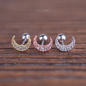 Moon Cartilage Earring 16g Helix Earring Helix Piercing Tragus Earring Tragus Piercing Cartilage Piercing Zircon Ball Post