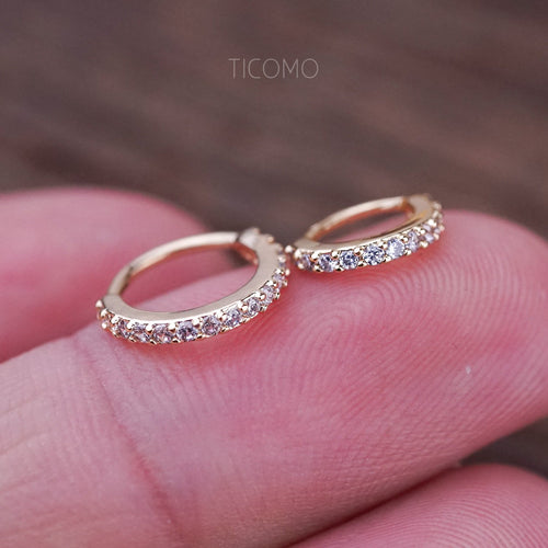 Cartilage Hoop Small Hoop Earring Helix Hoop Tiny Hoop Earring Cartilage Piercing Helix Piercing Gold Zircon