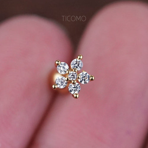 Cartilage Earring 16g Helix Earring Helix Piercing Tragus Earring Tragus Piercing Cartilage Piercing Gold Flower Zircon