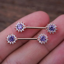 Nipple Ring Nipple Piercing Nipple Jewelry Nipple barbell Zircon Flower Rose Gold