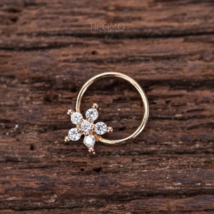 Daith Piercing Hoop Daith Hoop Earring Small Hoop Earrings Septum Ring Septum Piercing Rook Piercing Rose Gold Silver Flower
