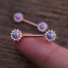 Nipple Ring Nipple Piercing Nipple Jewelry Nipple Barbell Purple Fire Opal Zircon Flower Rose Gold