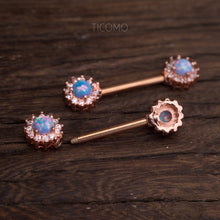 Nipple Ring Nipple Piercing Nipple Jewelry Nipple barbell Blue Fire opal Fircon Flower Rose Gold