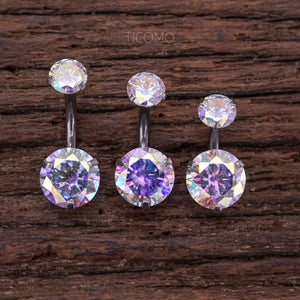 Short Bar Belly Ring Belly Button Ring Belly Button Jewelry Zircon 6mm 8mm 10mm