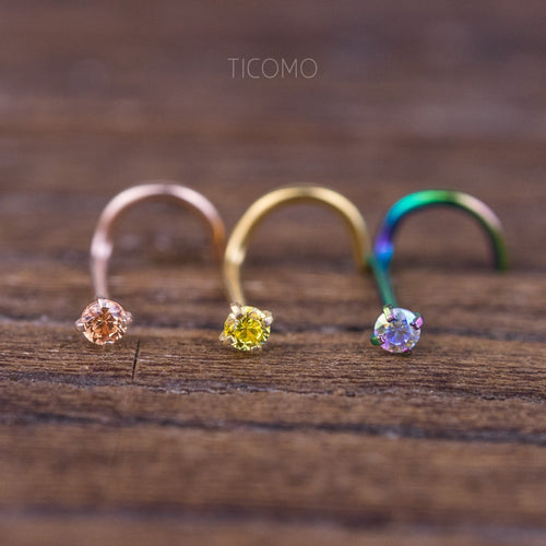 Minimalist Nose Stud Nose Piercing Nose Ring Simple Base Tiny Zircon L Post Curve 20g