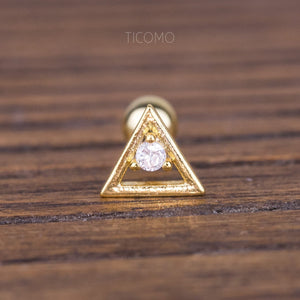 Triangle Cartilage Earring 16g Helix Earring Helix Piercing Tragus Earring Tragus Piercing Cartilage Piercing Zircon