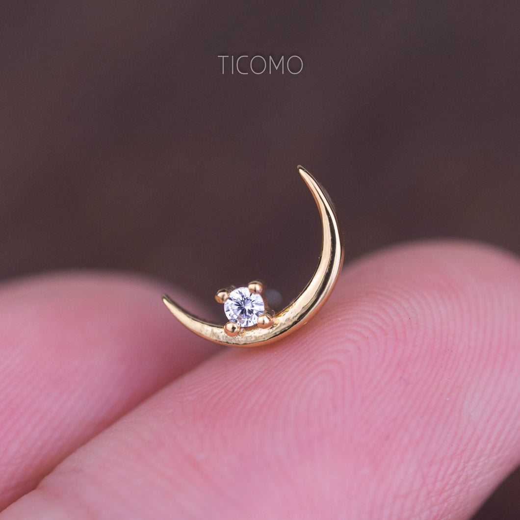 Minimalist Moon Zircon Cartilage Earring 16g Helix Earring Helix Piercing Cartilage Stud Cartilage Piercing Conch Piercing