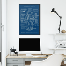 Load image into Gallery viewer, Astronaut Spacesuit Diagram (U.S. Spacesuit Circa 1969) Poster