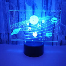 Load image into Gallery viewer, Solar System Acrylic 3D Lamp (7 colours switchable)
