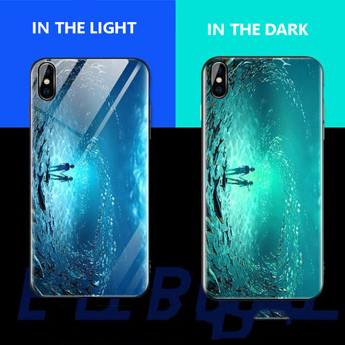 Luminous Tempered Glass Case For iPhone - Sea