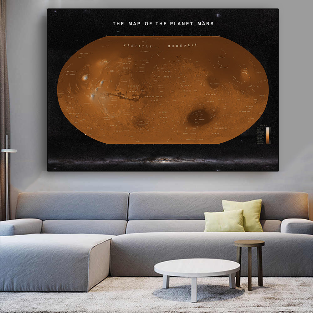 The Map Of The Planet Mars Poster