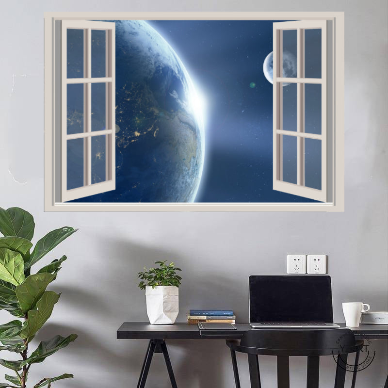 Earth and its Satellite Window View Poster