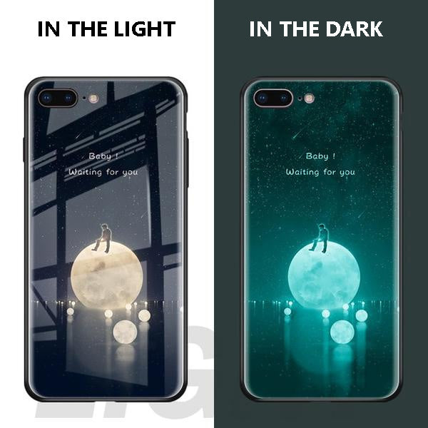 Luminous Tempered Glass Case For iPhone - Moon Love