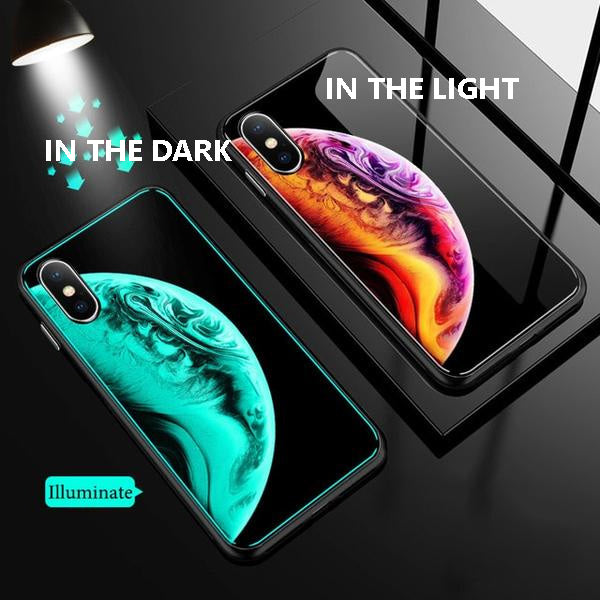 Luminous Tempered Glass Case For iPhone - Planet