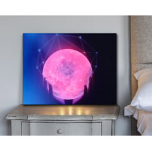 Load image into Gallery viewer, Luminous Wood Framed Canvas Wall Decor - The Moon
