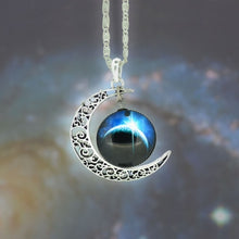Load image into Gallery viewer, Moon Crescent Galaxy Necklace