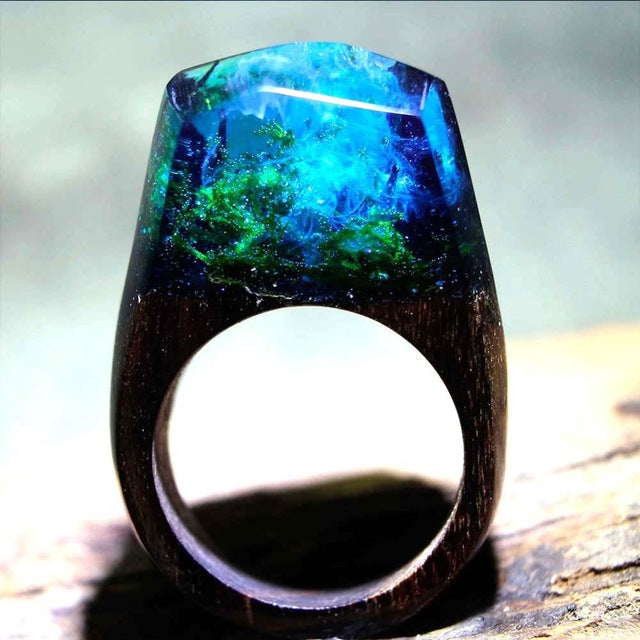 Deep Forest Wood Art Ring
