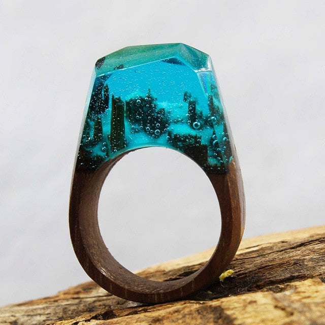 Deep Ocean Wood Art Ring