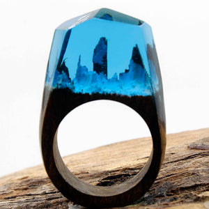 Blue Ocean Wood Art Ring