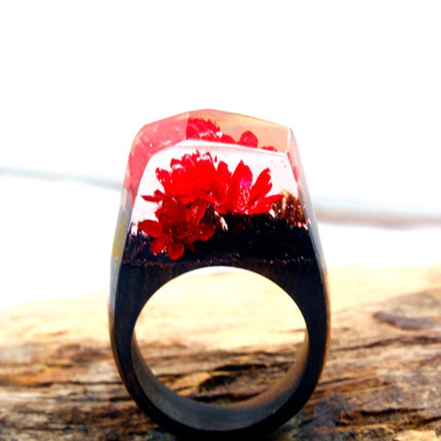 Red Flower Wood Art Ring