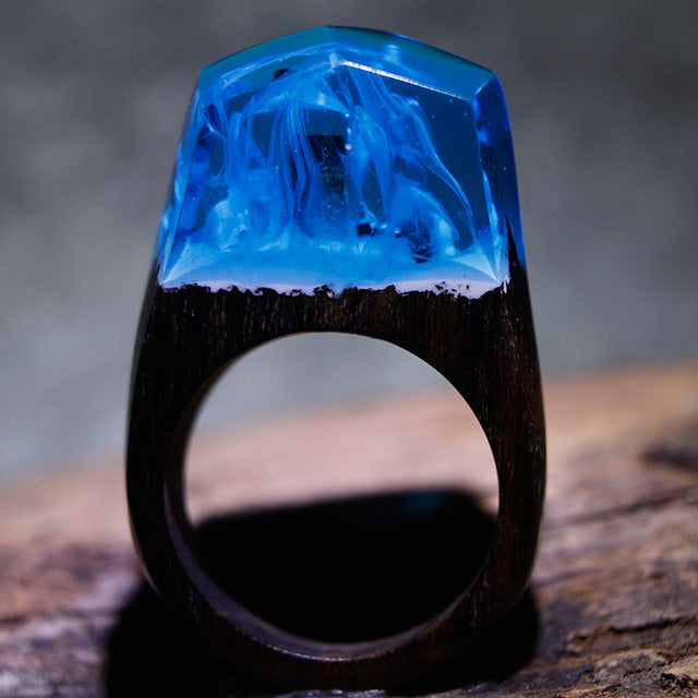 Blue Flame Wood Art Ring
