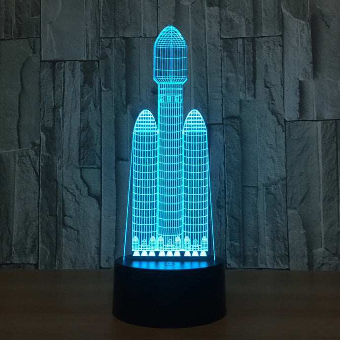 Falcon Heavy - Acrylic 3D Lamp