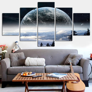 Earth from A Nearby Planet Poster 5 Pieces Canvas Poster
