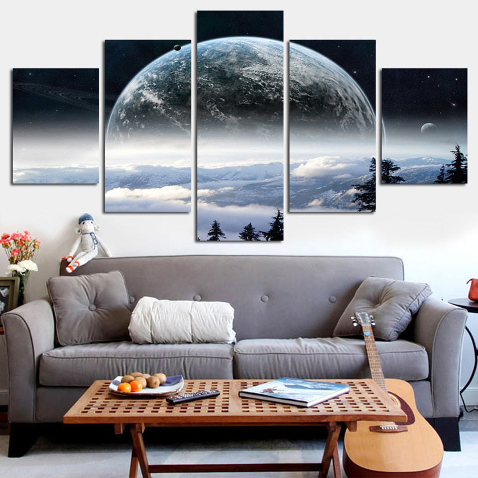 Earth from A Nearby Planet 5 Pieces Canvas