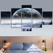 Load image into Gallery viewer, Earth from A Nearby Planet Poster 5 Pieces Canvas Poster
