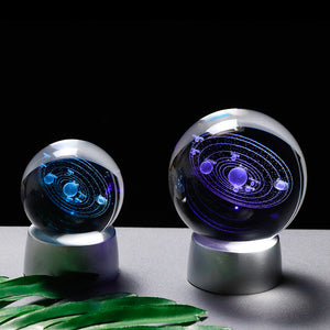 Solar System Ball 3D Lasered Glass (Luminous)