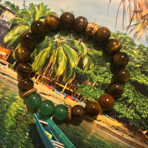 Tiger Eye & Jade Beaded Bracelet