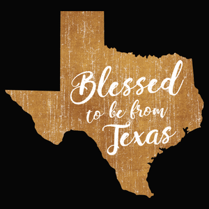 Blessed to be from Texas- Orange Cursive