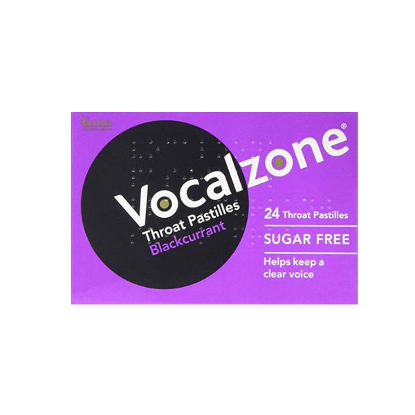 VOCALZONE Throat Pastilles Sugar Free Blackcurrent 24pk