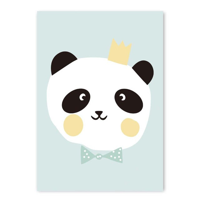 Watercolor Panda Cute Canvas Painting Wall Art - Voilet Panda Store