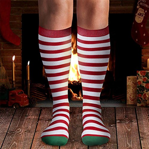 Running Christmas  Elf Knee High Socks