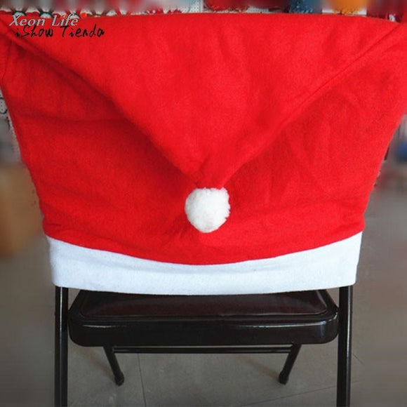 Santa Hat Chair Covers Decor