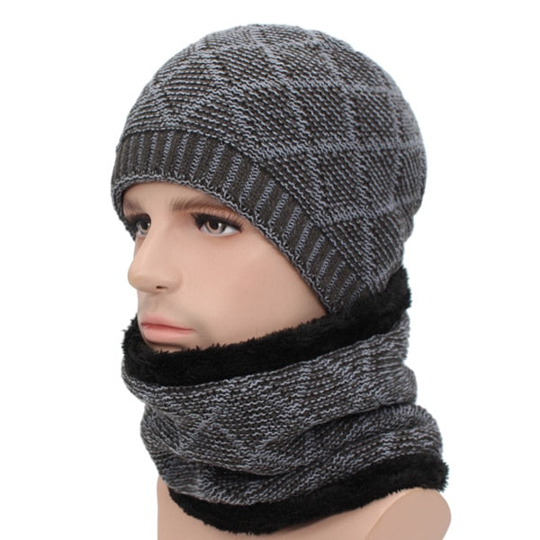 Winter Skullies Beanies Men Scarf
