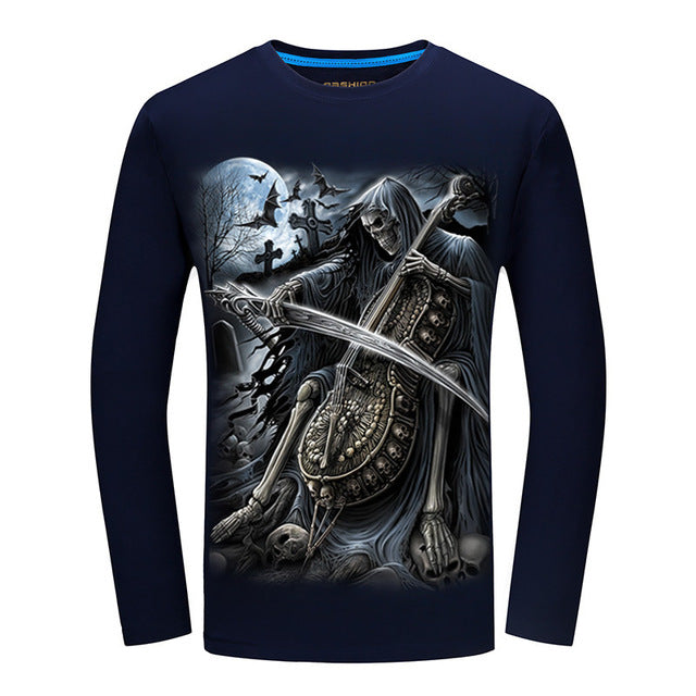Autumn New 3D music Long Sleeve Shirts