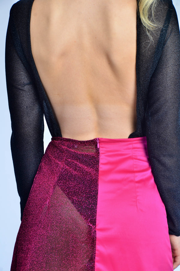 backless black glittery bodysuit