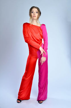 Pink and Red Jumpsuit