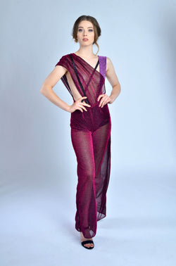 Purple Mesh Jumpsuit