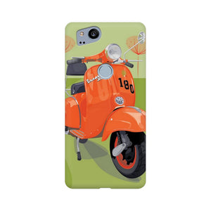 Orange Vespa Google Pixel 2 Mobile Back Case