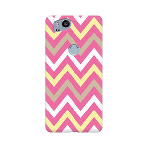 Yellow And Pink Broad Chevron Google Pixel 2 Mobile Back Case