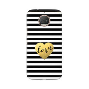 Black And White Gold Love Moto G5s Plus  Mobile Back Case