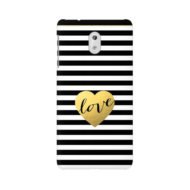 Black And White Gold Love Nokia 3 Mobile Back Case - JumboShoppers