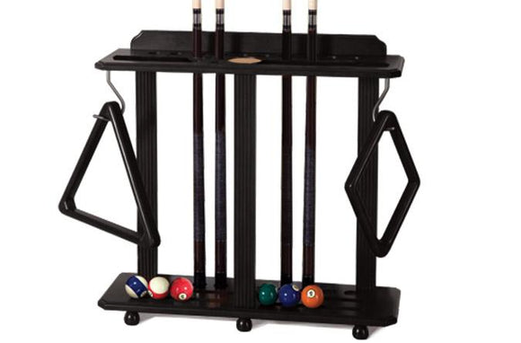 Black floor pool cue rack for 10 cues and billiard balls