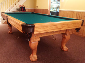 Preowned Custom Made Solid Oak Pool Table