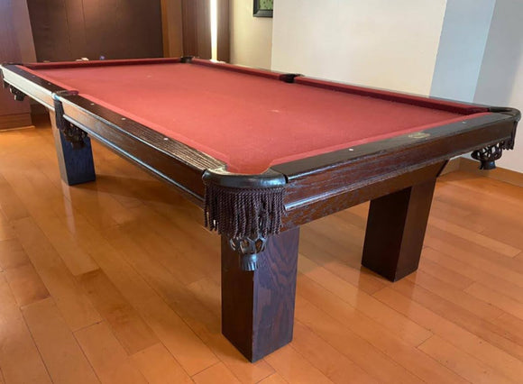 9' PREOWNED PALASON POOL TABLE INSTALLED WITH ACCESSORIES