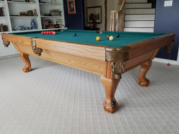 9' PREOWNED CANADA BILLIARD AMERICANA SLATE POOL TABLE INSTALLED WITH ACCESSORIES